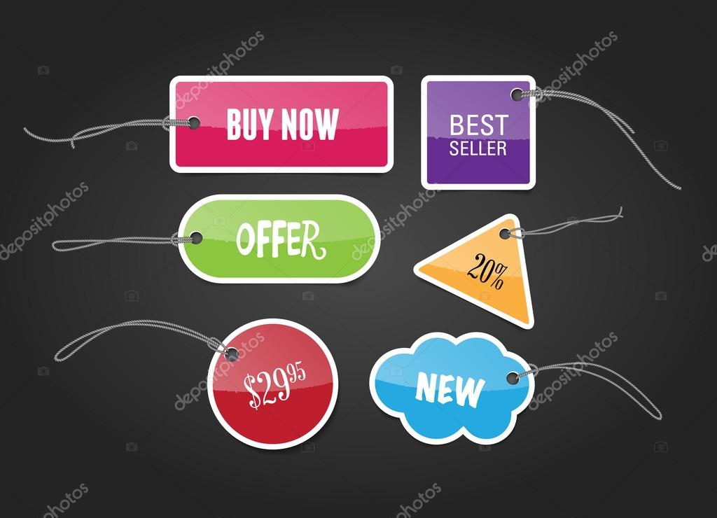 A set of vector colorful glossy paper price tags — Stock