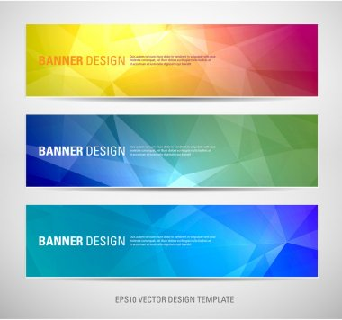 A set of modern vector banners with polygonal background stock vector