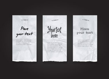 Vector torn and crumpled white paper banners - tags collection