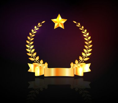 Vector golden laurel wreath with a star and a ribbon