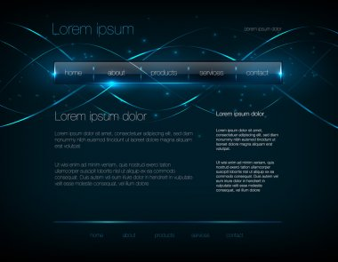 Vector dark blue web site design template with glossy navigation bar