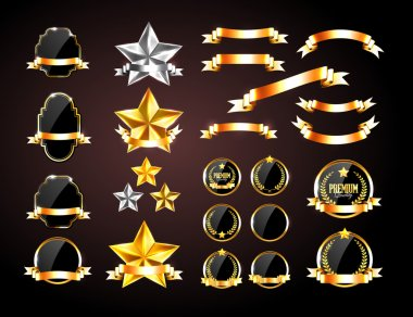 Vector collection of golden and silver decorative elements: badges, banners, stars and ribbons