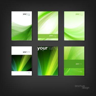 Green vector brochure - booklet cover design templates collection