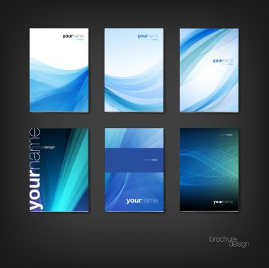 Blue vector brochure - booklet cover design templates collection