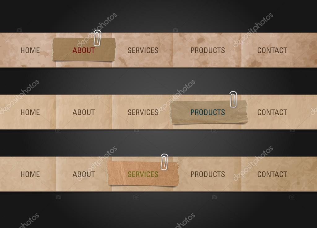 vector old paper web navigation bar design templates stock vector