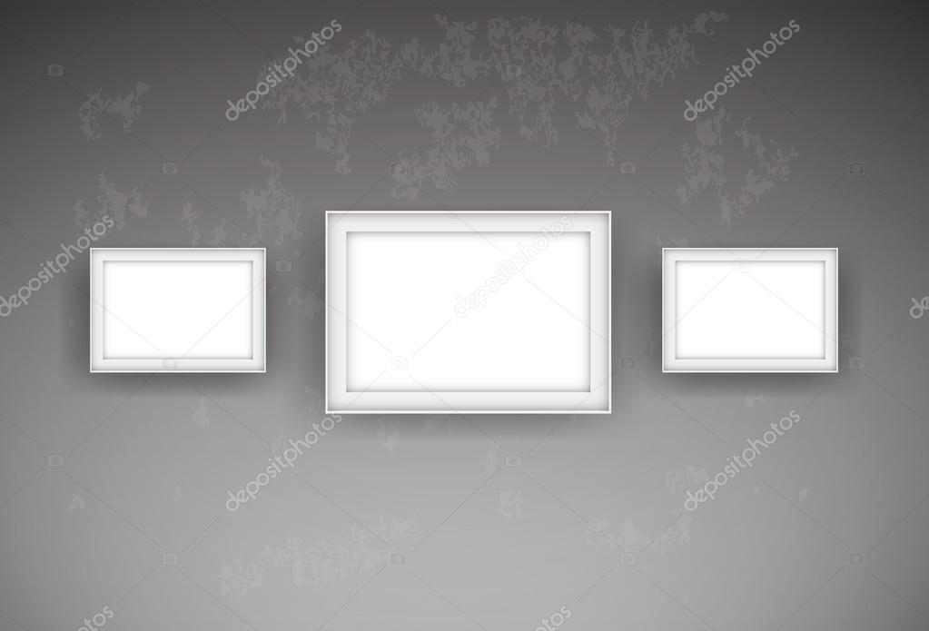 formidable accrocher cadre mur beton 11 trois vecteur vide cadres blanc accroch au mur de. Black Bedroom Furniture Sets. Home Design Ideas