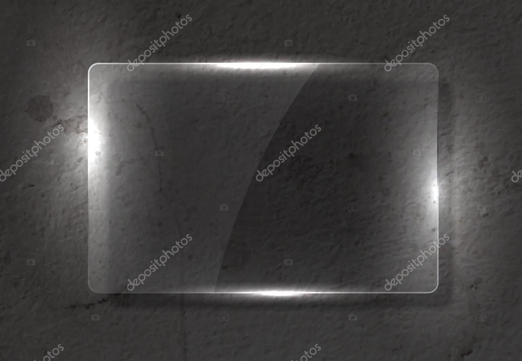 Vector clear glass banner over old distressed worn out wall background