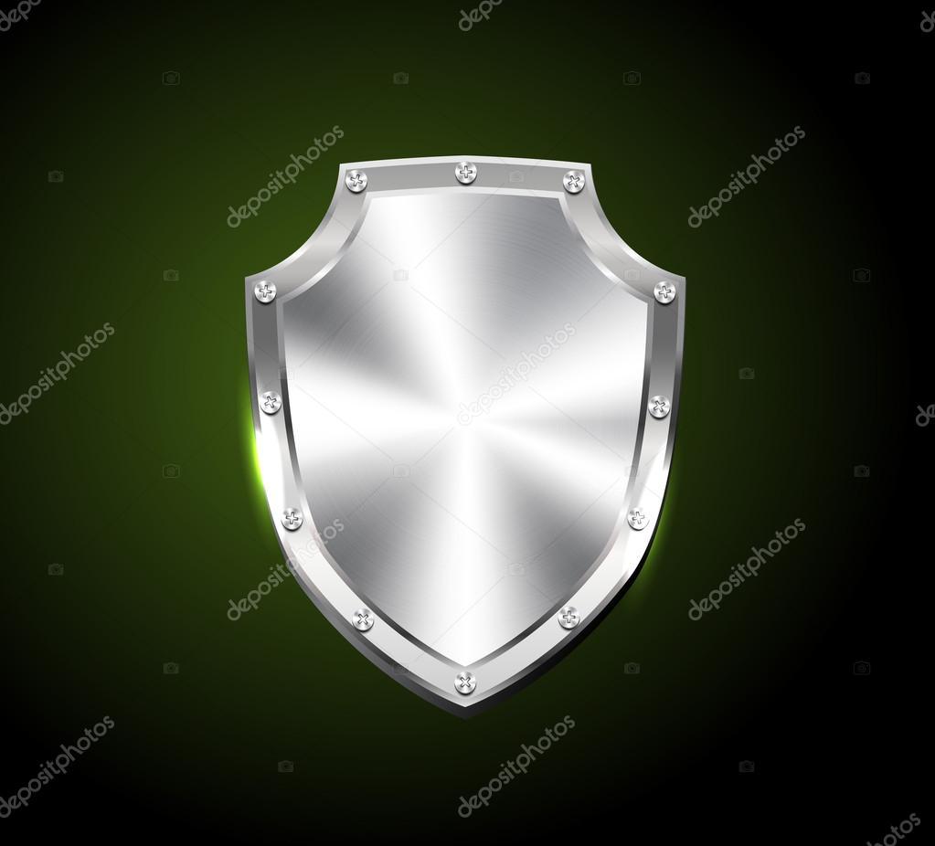 Vector cepillado plata escudo brillante acero — Vector de stock ...