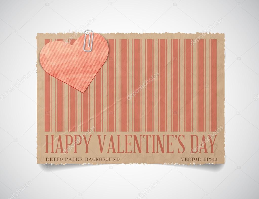 plantilla Vector vintage papel rayado de San Valentín tarjeta de ...