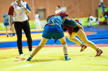 Sambo or Self-defense without weapons. Competitions girls...