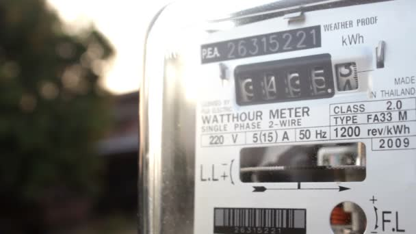 Electric meter at sunset