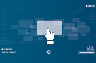 Hand icon pushing rectangle button