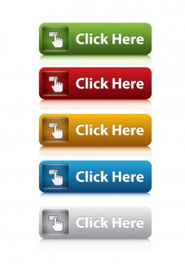 set of click here button for website 5 color