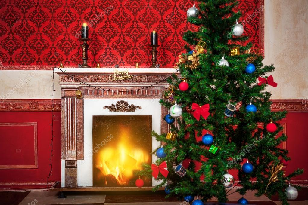 sensasional vintage christmas interieur met een vrolijk kerstmis si stockfoto