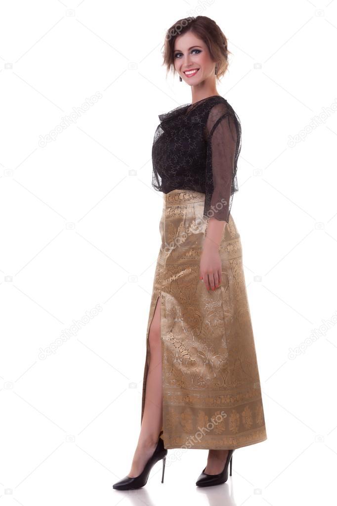 Lächelnde Frau Ganzkörper isoliert auf weißem Hintergrund ...