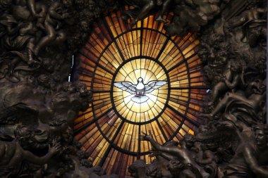 Holy Spirit. Detail of main altar in basilica St. Peter in Vatican. Bernini masterpiece stock vector