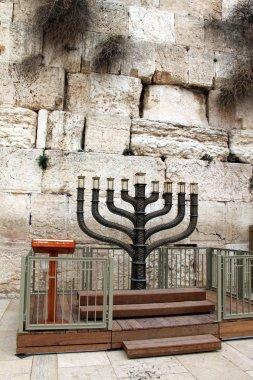 Jewish hanukkah candle-holder near Western wall,