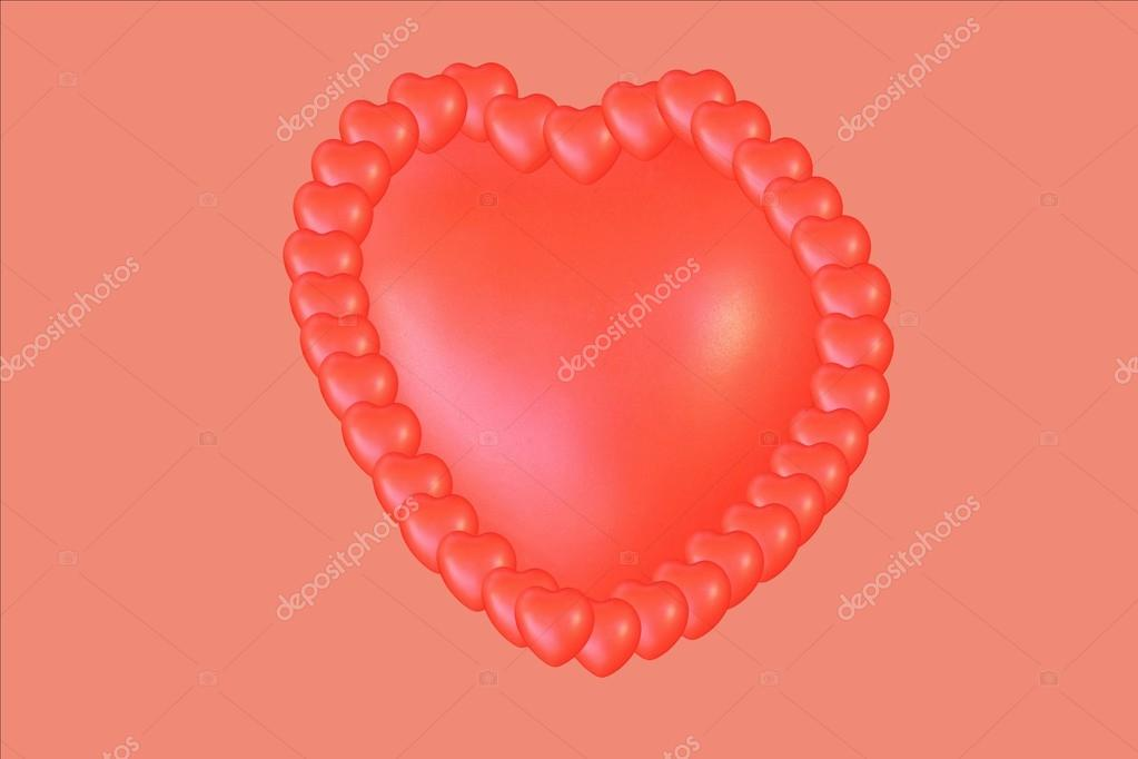 Red heart and frame of small hearts — Stock Photo © Flik47 #24369587