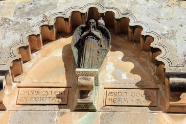 Detail of Church of the Flagellation and the second station stop Jesus Christ on Via Dolorosa
