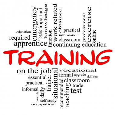 Training Word Cloud Concept in red & black