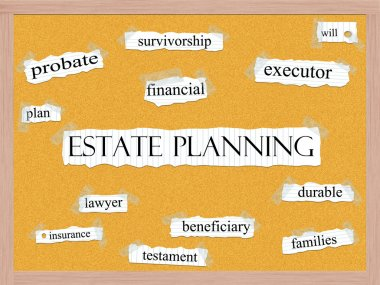 Estate Planning Corkboard Word Concept