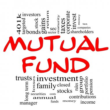 Mutual Fund Word Cloud Concept in red & black