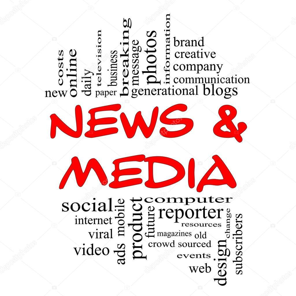 News and Media Word Cloud Concept in red & black