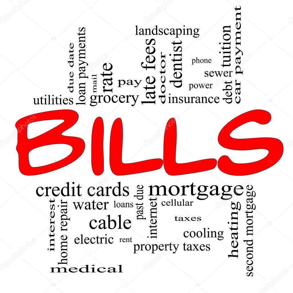 Bills Word Cloud Concept in red & black