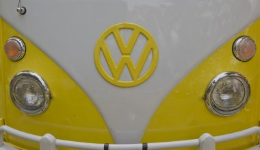 Yellow & White 1966 VW Camper Close up