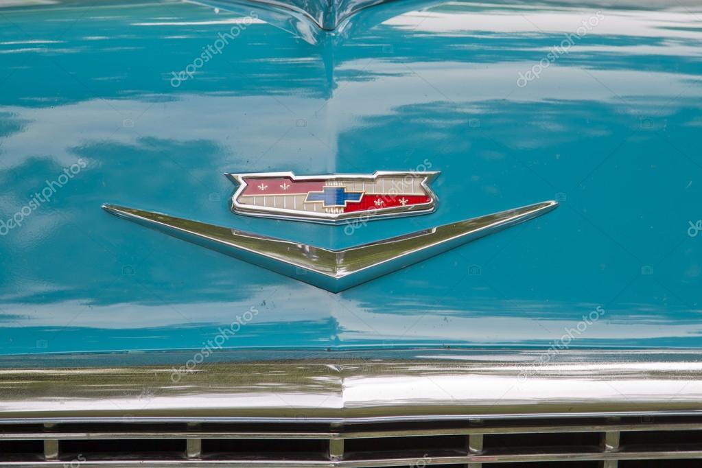 1956 Chevy Bel Air Emblem Close Up Stock Editorial Photo