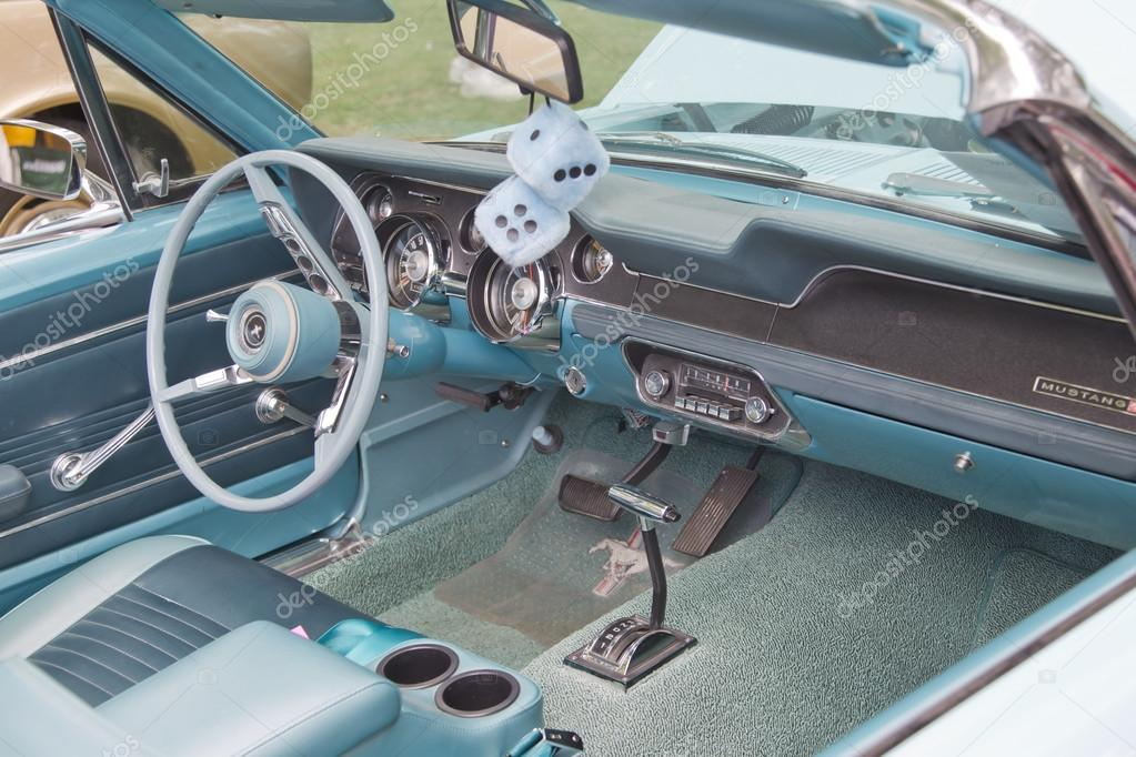 1967 aqua ford mustang interior dice stock editorial photography