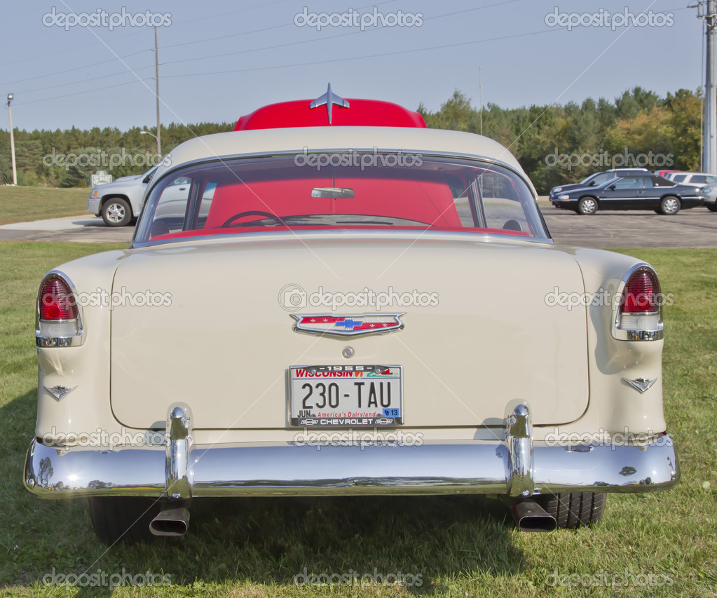 Red White 1955 Chevy Bel Air Rear View Stock Editorial Photo 57 Bumper