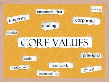 Core Values Corkboard Word Concept
