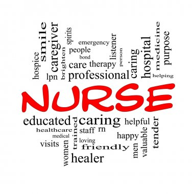 Nurse Word Cloud Concept in Red Caps