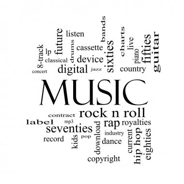 Music Word Cloud Concept in Black and White