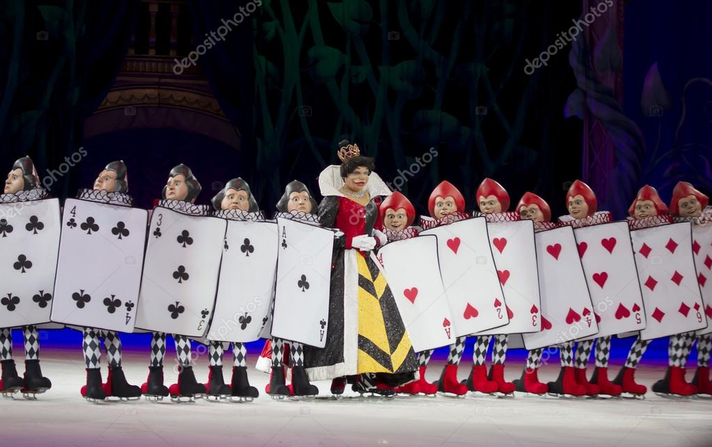 queen of hearts and card soldiers stock editorial photo