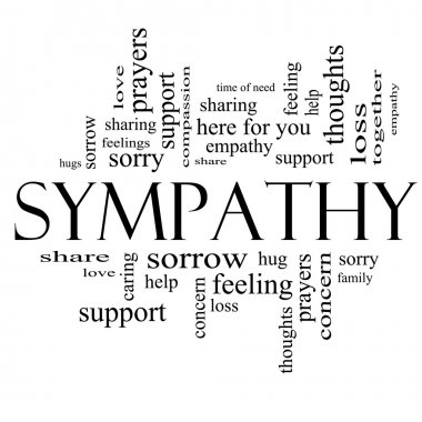 Sympathy Word Cloud Concept in Black and White