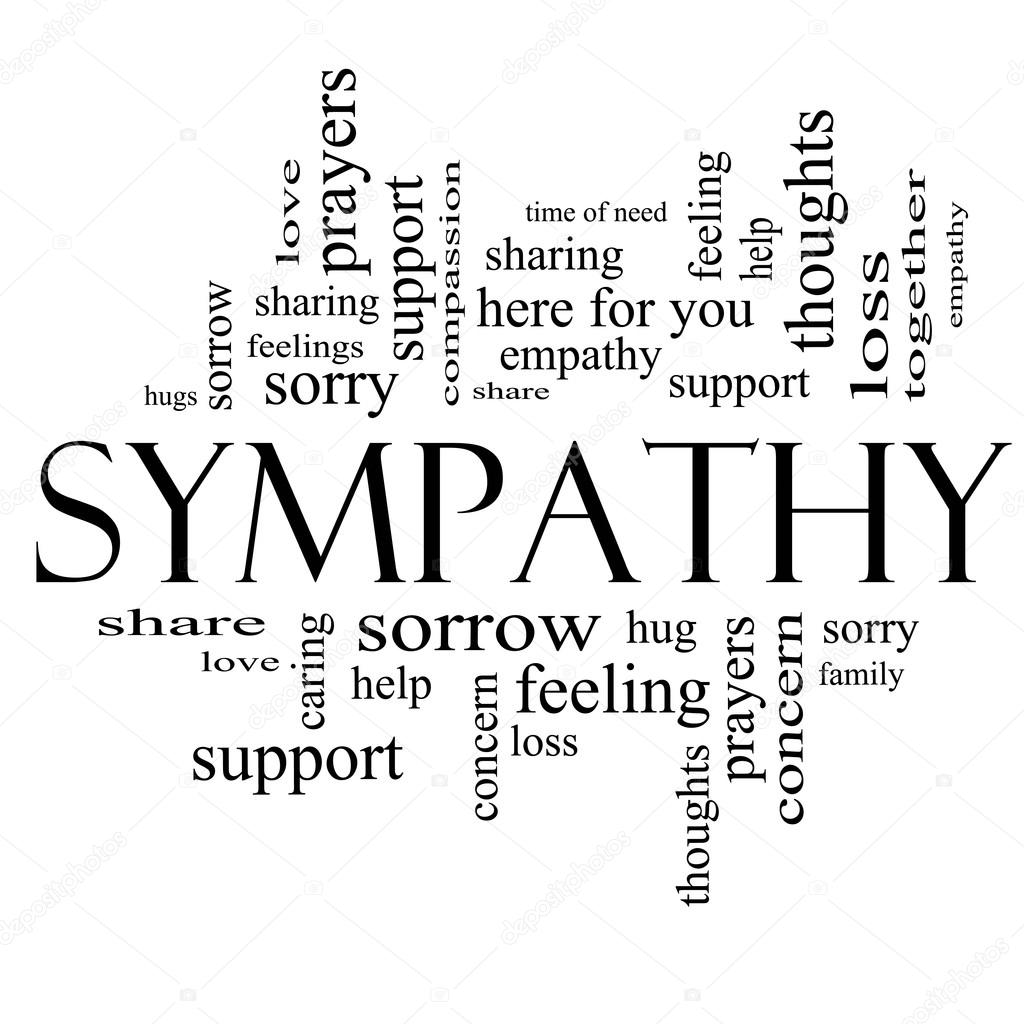 sympathy word cloud concept in black and white stock photo