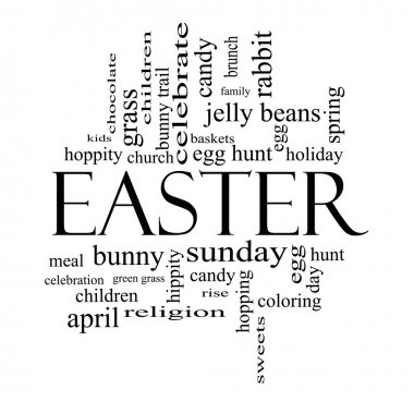 Easter Word Cloud Concept in Black and White