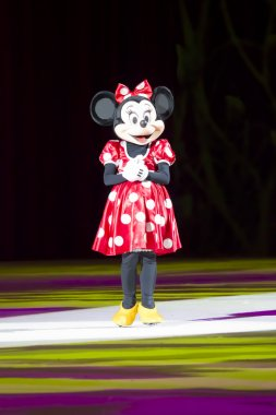 Minnie Dressed Up in Red Dress on Skates