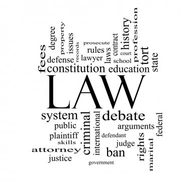 Law Word Cloud Concept in black and white