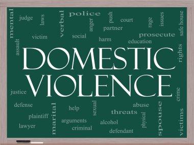 Domestic Violence Word Cloud Concept on a Blackboard
