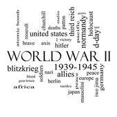 Fotografia seconda guerra mondiale parola concetto nuvola in bianco e nero