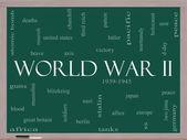 Fotografia concetto di nube parola guerra mondiale su una lavagna