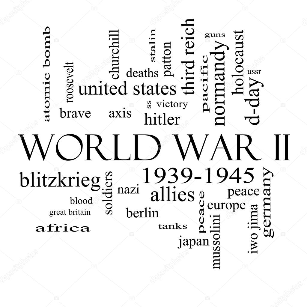 Tweede Wereldoorlog Woord Wolk Begrip In Zwart Wit