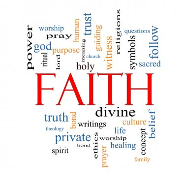 Faith Word Cloud Concept with great terms such as power, worshiop, spirit, divine and more. stock vector