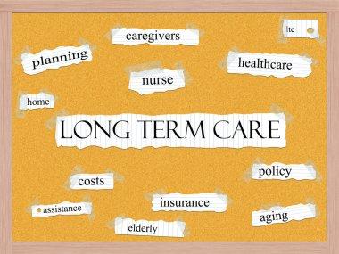 Long Term Care Corkboard Word Concept