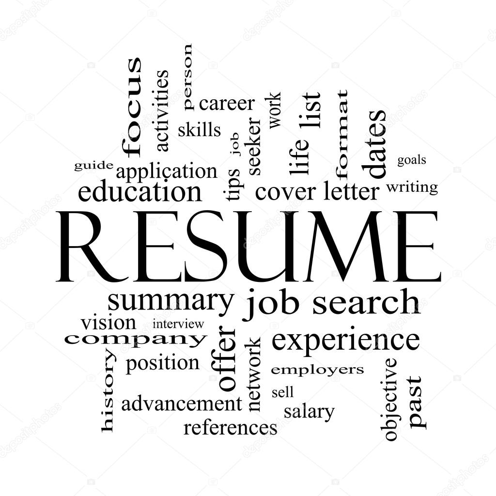 resume word cloud concept in black and white stock photo