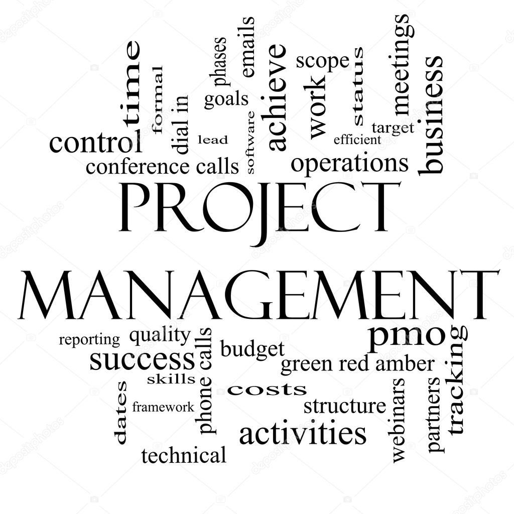 Project Management Word Cloud Concept in Black and White — Stock ...