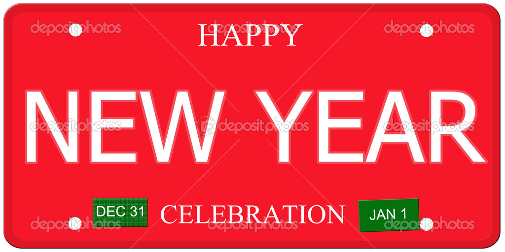 Happy New Year License Plate — Stock Photo © mybaitshop #37264587